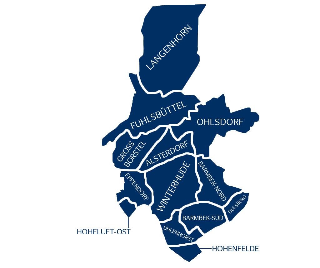Stadtteile im Bezirk Nord